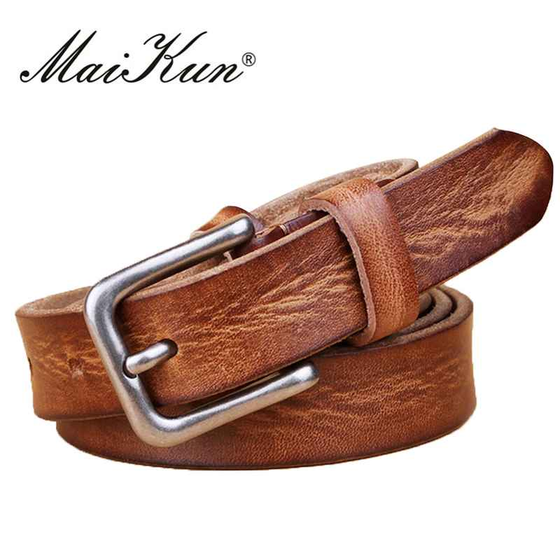 Maikun Thin Belts For Women Unisex Genuine Leather Belt Female