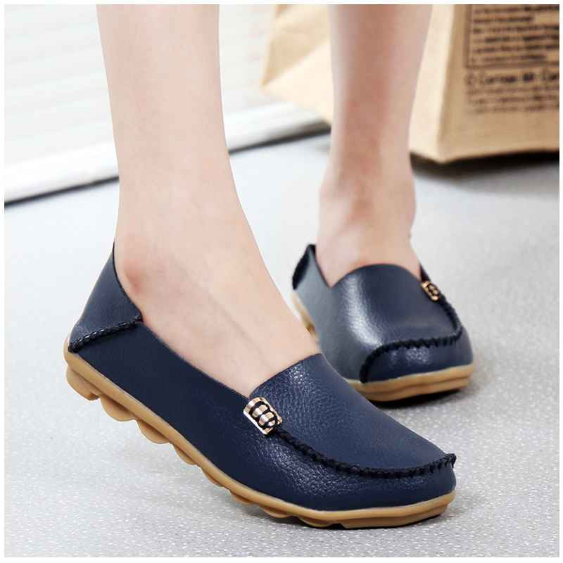 Kuidfar 2018 Fashion Genuine Leather Women Flats Shoes Female Casual