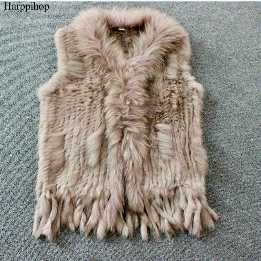 Harppihop Free Shipping Womens Natural Real Rabbit Fur Vest With