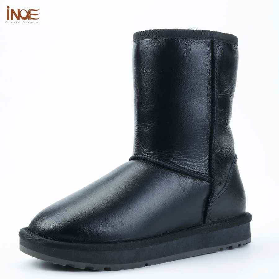 Inoe Classic Men Mid-Calf Sheepskin Leather Snow Boots Shearling Wool