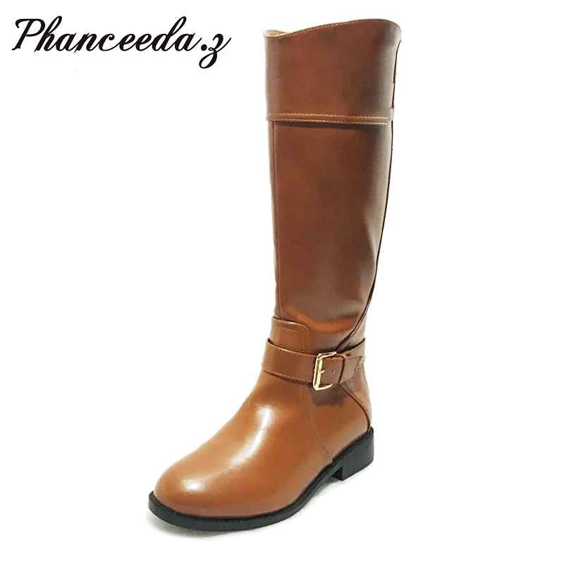 2019 Women Autumn Winter Shoes Knee High Boots Round Toe