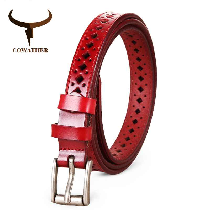 Cowather 2019 Good Women Belts Cow Genuine Leather Pin Buckle