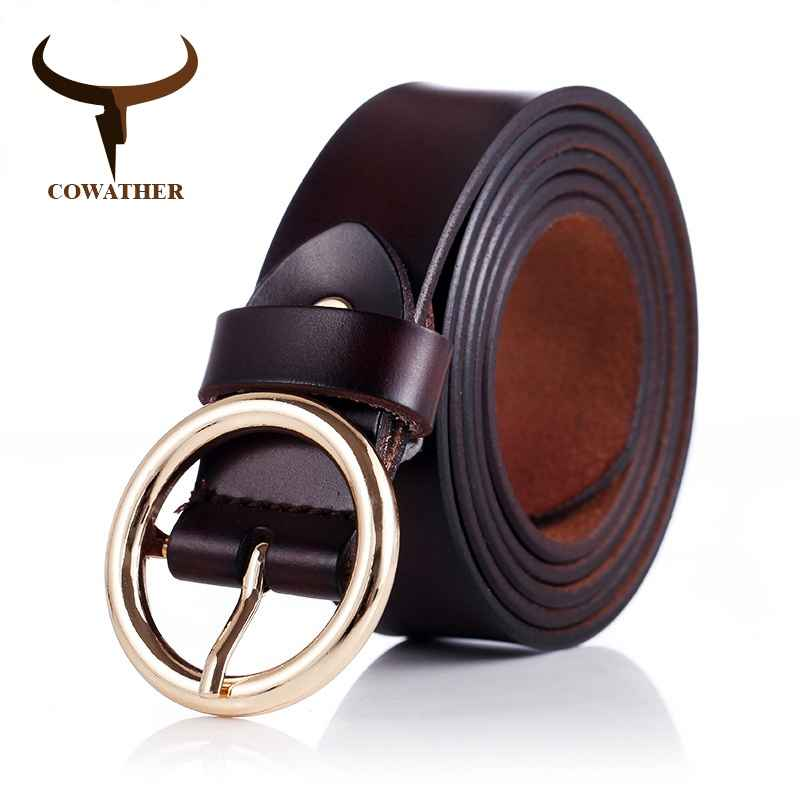 Cowather Women Belts Cow Genuine Leather Good Quality Alloy Pin