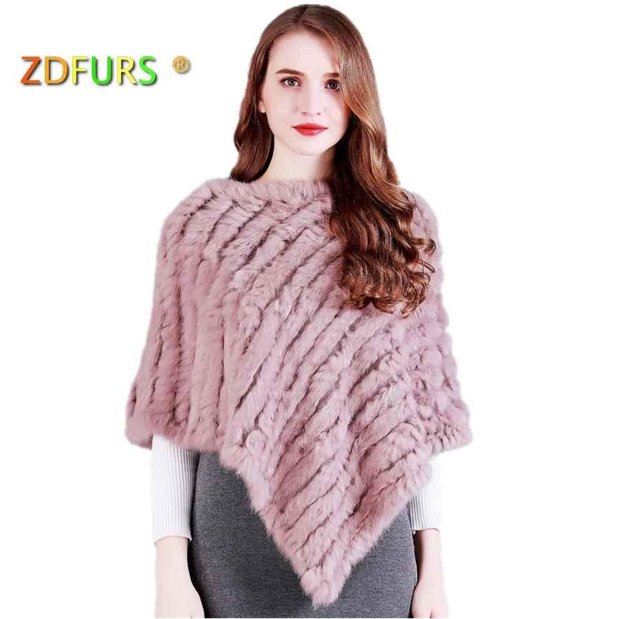 Zdfurs * Real Knitted Rabbit Fur Poncho Wrap Pashmina Scarves