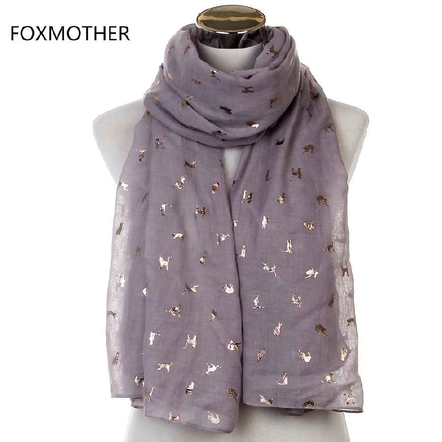 Foxmother Scarf Women Scarves Luxury Shiny White Navy Yellow Bronzing