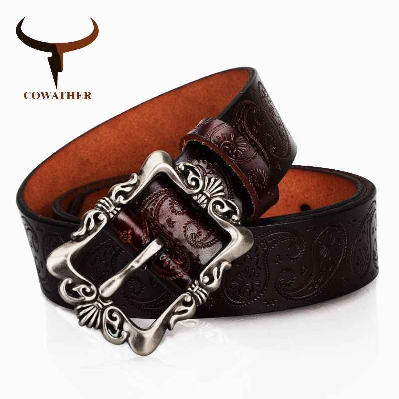 Cowather 2019 Cow Genuine Leather Belts For Women Luxury Strap