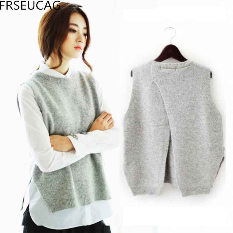 Frseucag 2019 Cashmere Vest Back To Open The Knit
