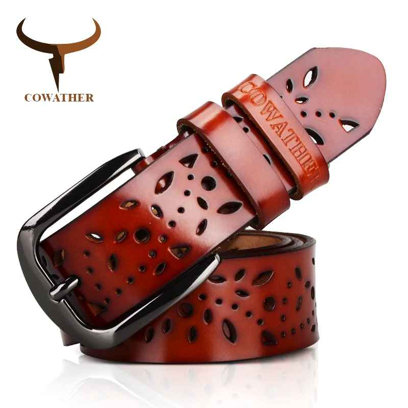 Cowather New 2019 Genuine Leather Jeans Belts For Women Hollow