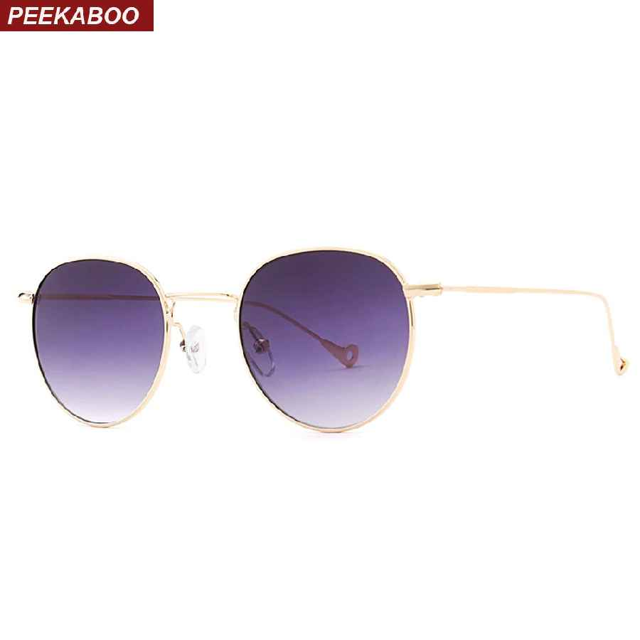 Peekaboo Blue Tinted Sunglasses Men Green Thin Metal Yellow Clear