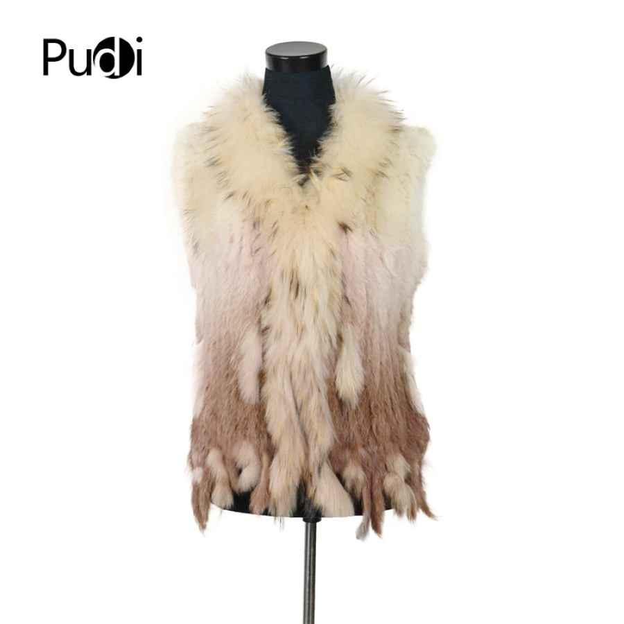Vr001-17 Free Shipping Womens Natural Real Rabbit Fur Vest With