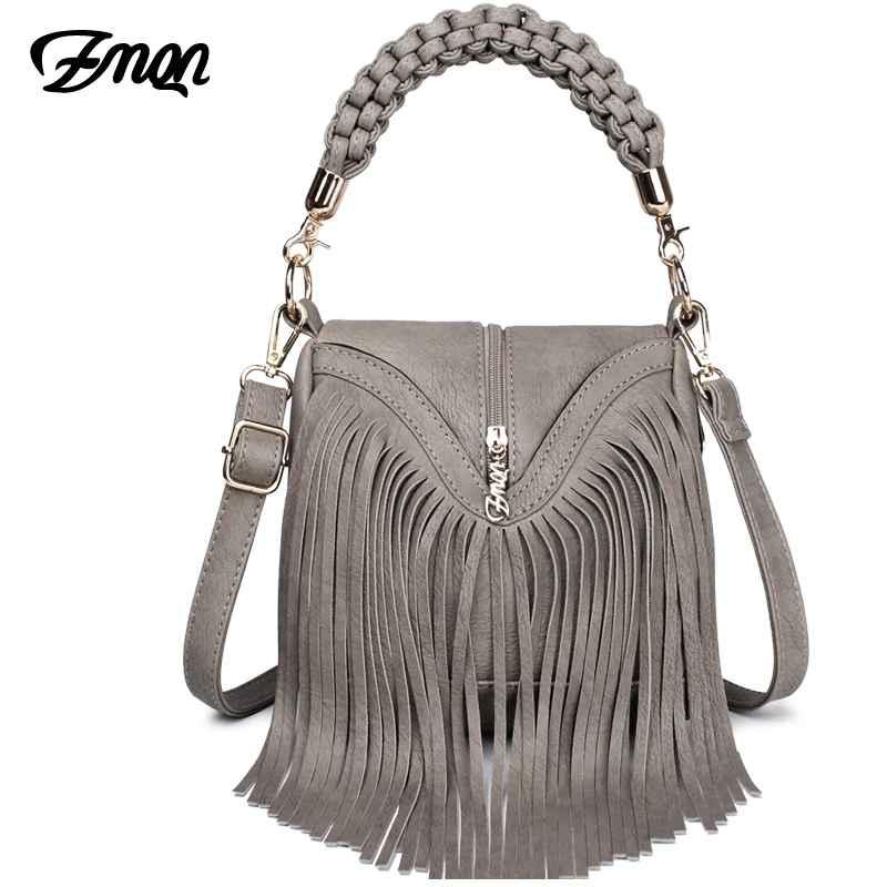 Women Messenger Bags 2019 Leather Handbags Tassel Famous Brand For