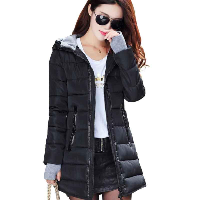Coats 2019 women winter hooded warm coat slim plus size