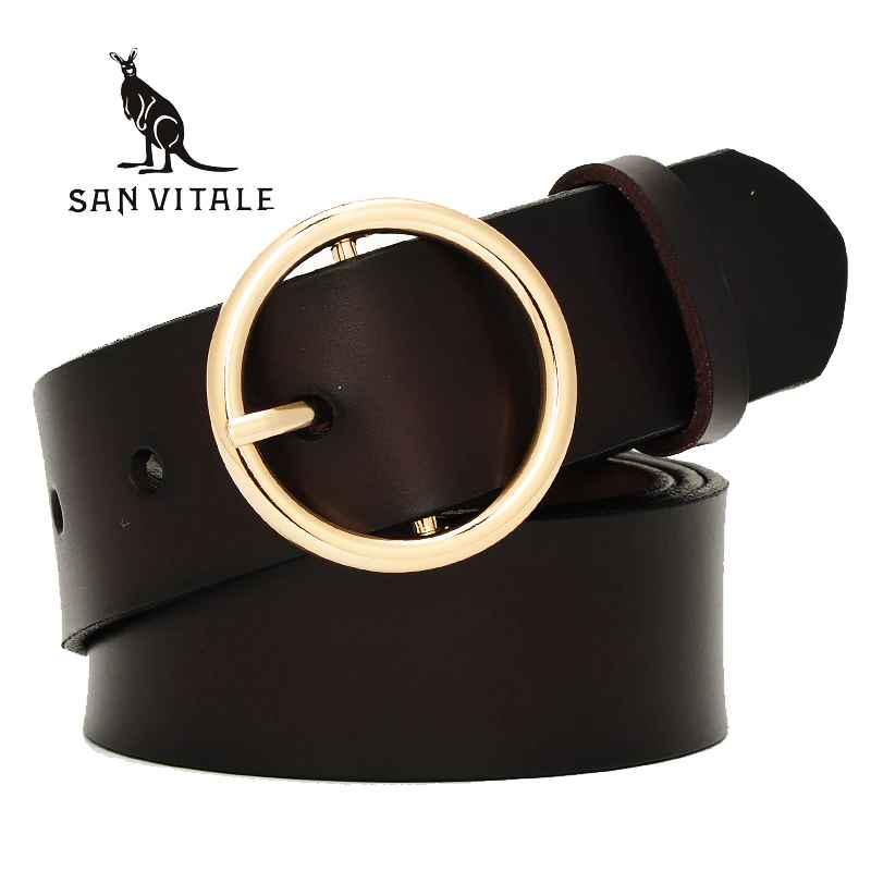 San Vitale 2017 New Designer Fashion Women s Belts Genuine Leather