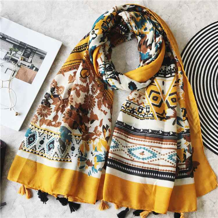 2019 Women s Fashion Scarf African Floral Viscose Shawl Spain Luxury