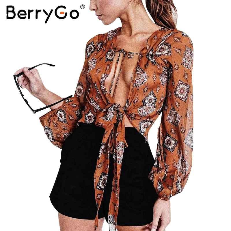 Blouses berrygo print v neck chiffon blouse shirt women summer
