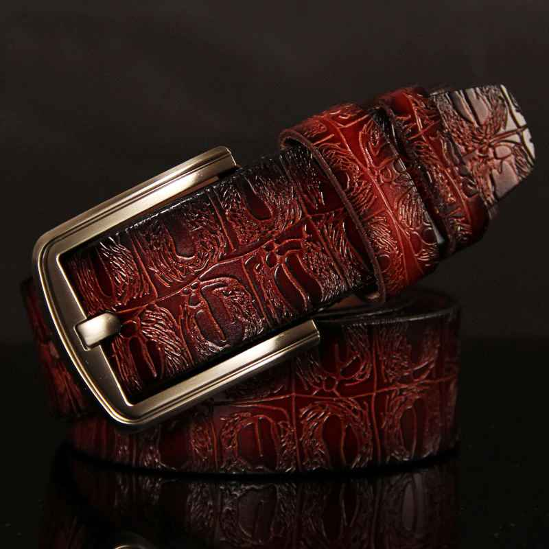 2018 Genuine Cowskin Leather Belts For Women Carved Design Retro