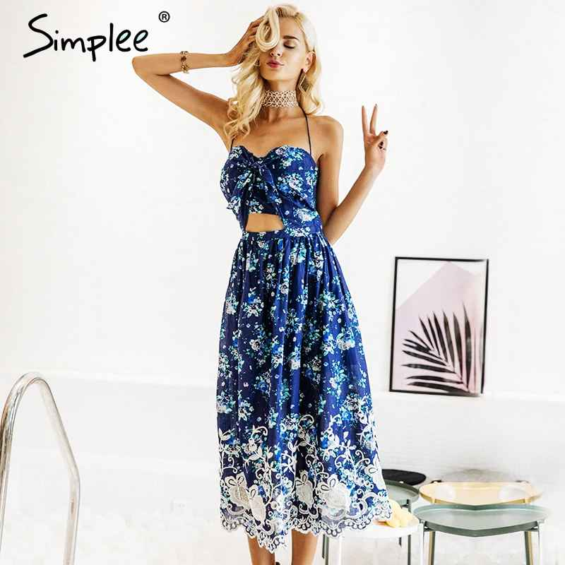 Floral Print Dresses Simplee Vintage Print Beach Summer Dress Women