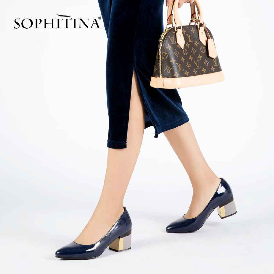 Sophitina Brand Shoes Thick Heel Ladies Pumps Patent Leather Pointed