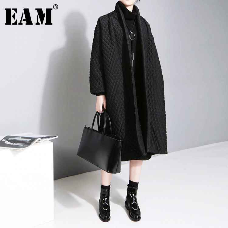 Eam 2019 New Large Size Temperament Solid Color Long-Sleeved Long