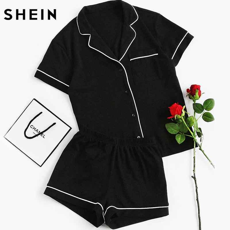 Contrast Piping Pocket Front Pajama Set Black Short Sleeve Lapel
