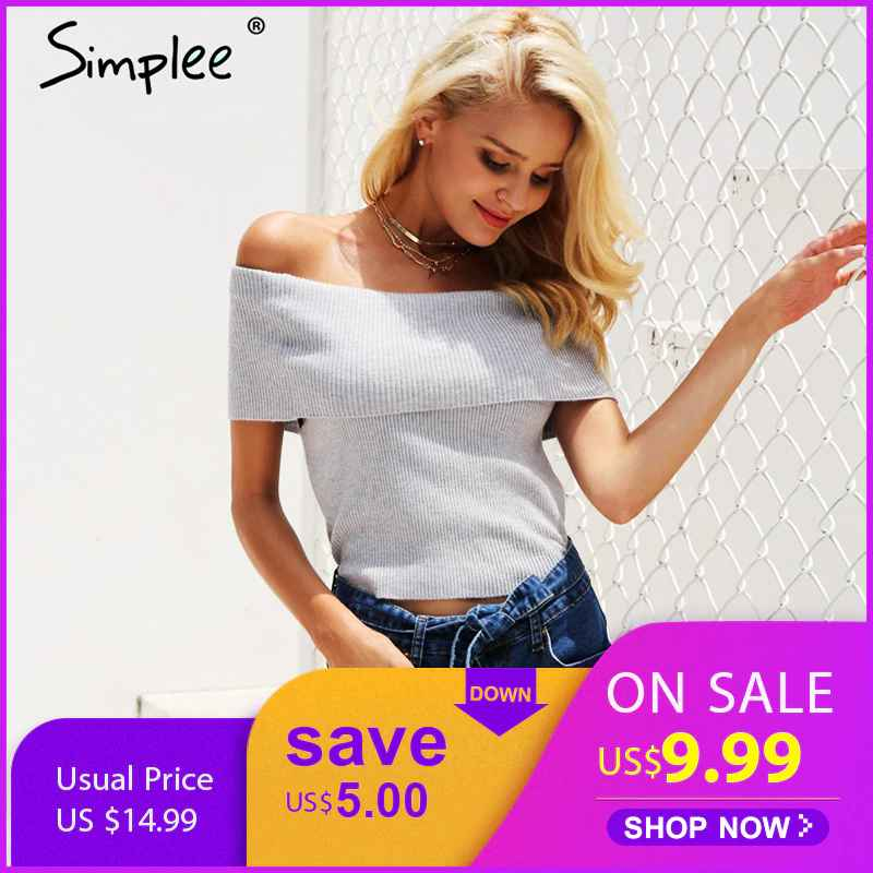 Pullover Jumpers Simplee Vintage Elastic Camisole Tank Top Off Shoulder