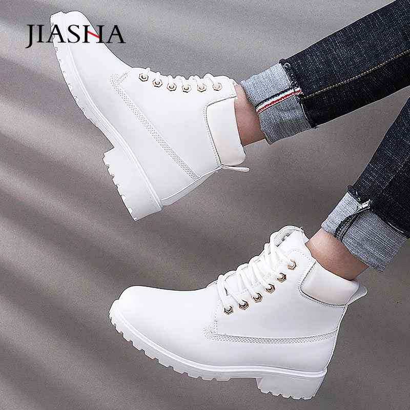 Women Winter Boots 2019 Fashion Leather Lace-Up Winter Shoes Women