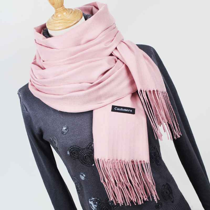 Women Solid Color Cashmere Scarves With Tassel Lady Winter Thick