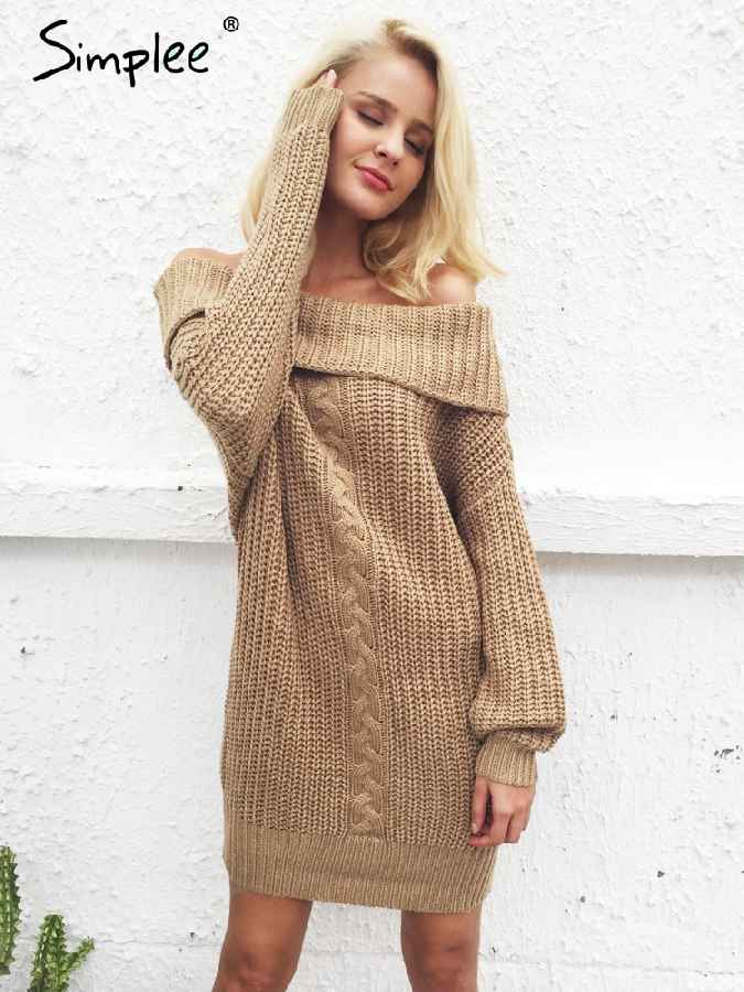 Autumn Winter Dresses Simplee One Shoulder Winter Dress Women Knitted