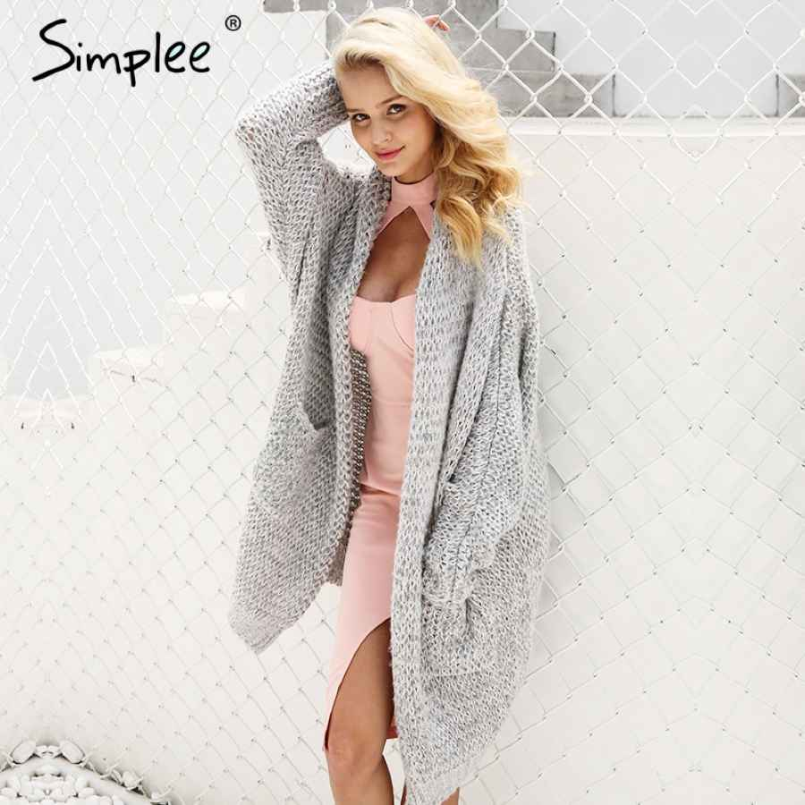Casual Knitted Long Cardigan Female Loose Cardigan Knitted Jumper Warm