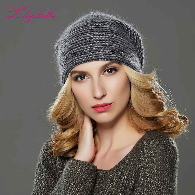 Liliyabaihe New Style Women Beanies Winter Hat Knitted Wool Angora