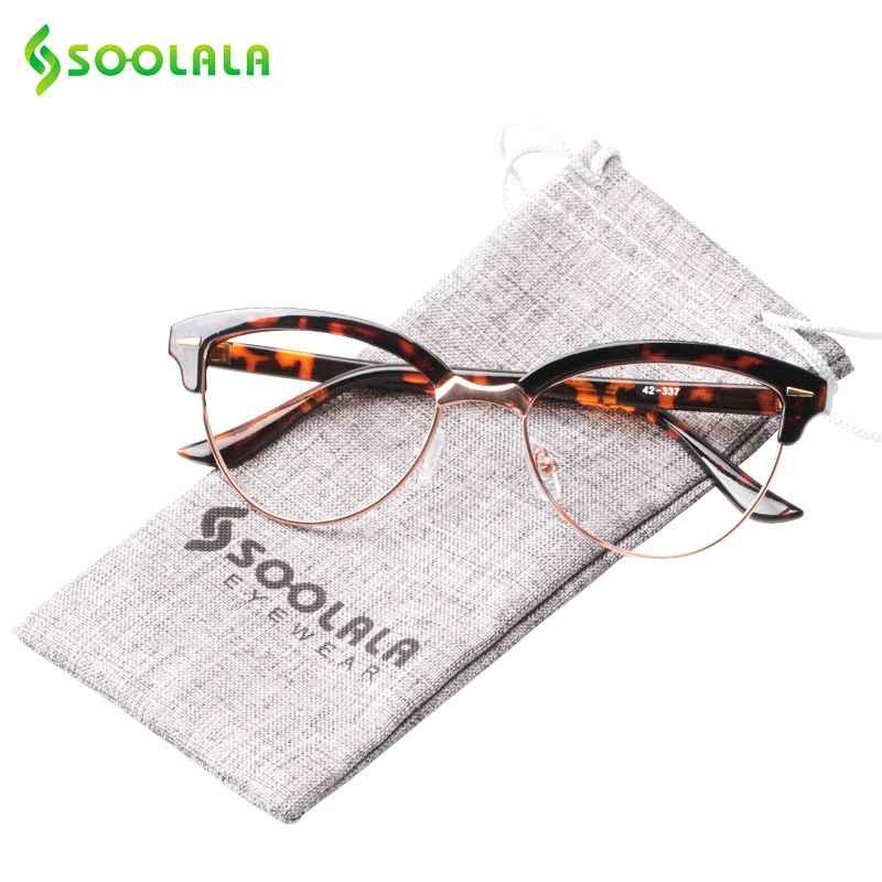 Soolala Semi-Rimless Cat Eye Reading Glasses Women Magnifying Eyeglasses Presbyopia