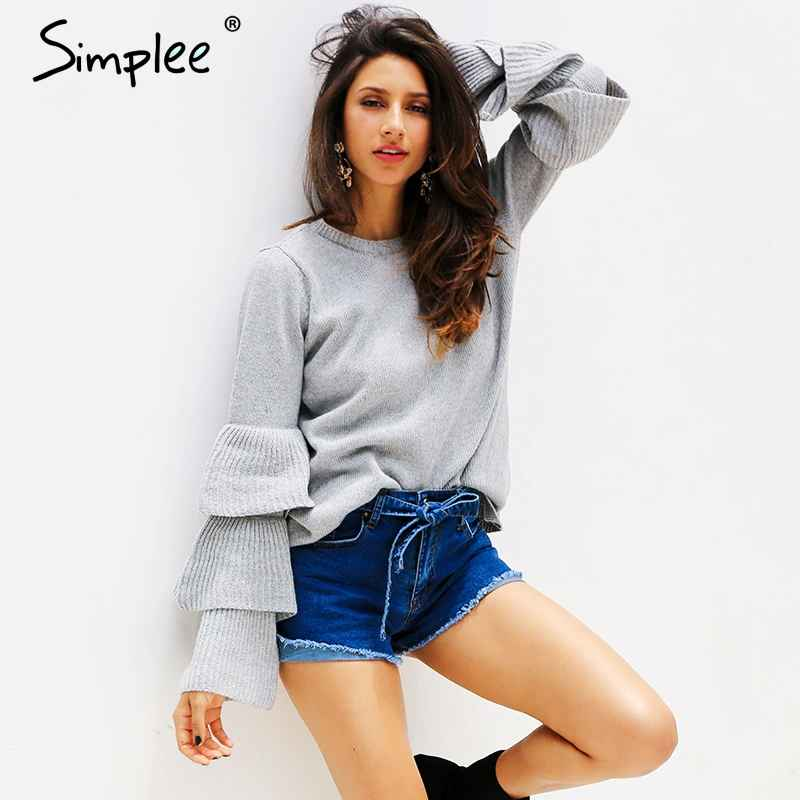 Knitting Ruffles Winter Sweater Women Loose Flare Sleeve Pullover Female