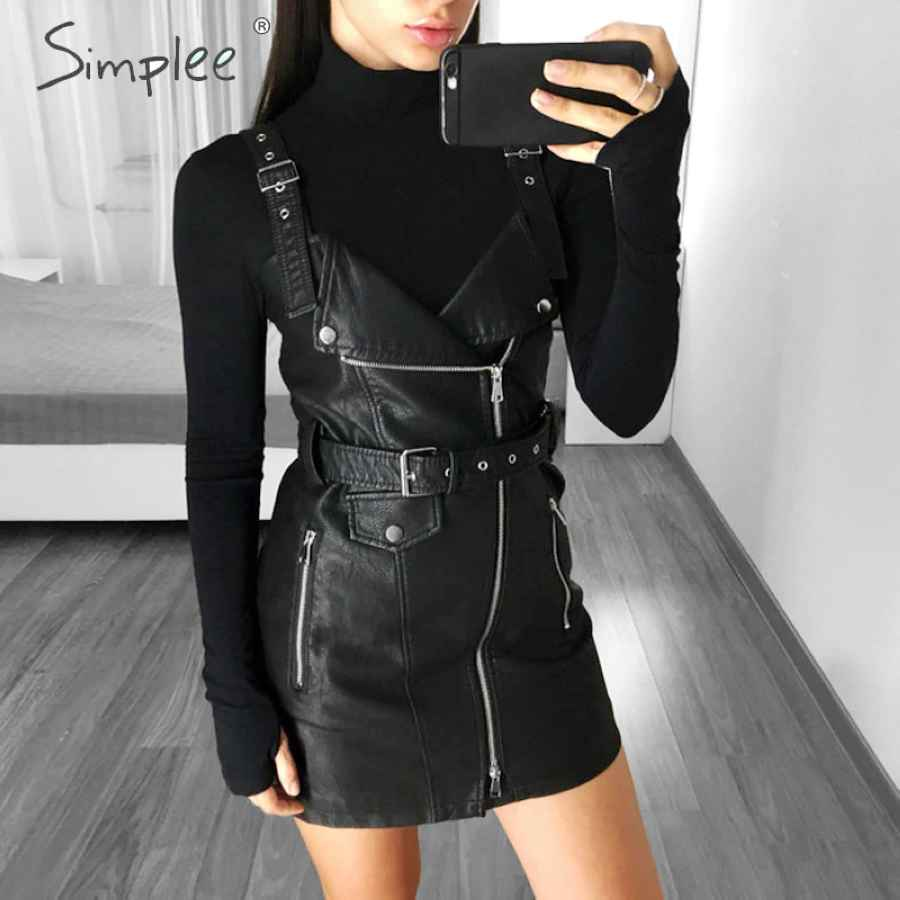 Fashion Pu Leather Women Dress V Neck Mini Bodycon Dress