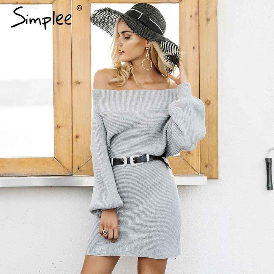 Off Shoulder Long Knitted Sweater Dress Women Elegant Loose Winter