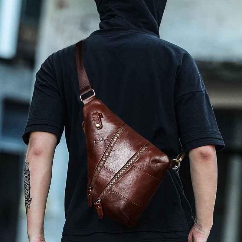 Vintage Sling Genuine Leather Messenger Bag For Men Shoulder Bags