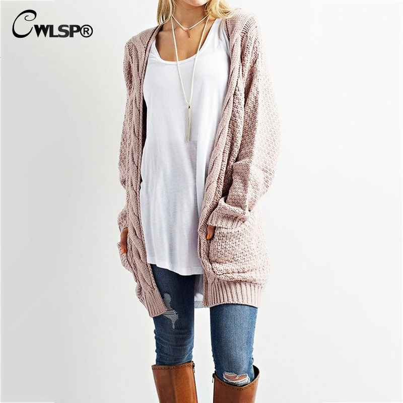 Sweaters cwlsp casual long sleeve computer knitted autumn women long
