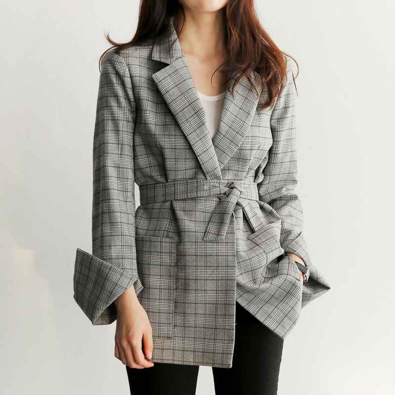 Blazers spring autumn women gray plaid office lady blazer fashion