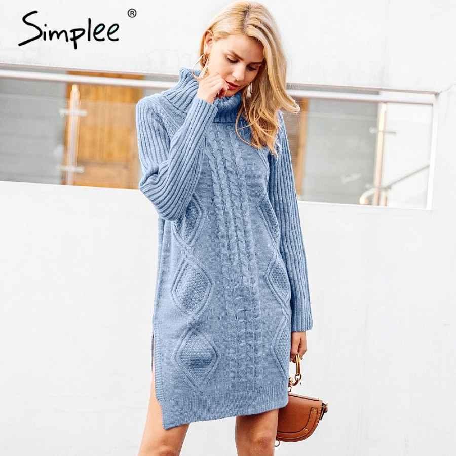 Turtleneck High Split Knitting Pullover Autumn Winter Long Sleeve Leisure