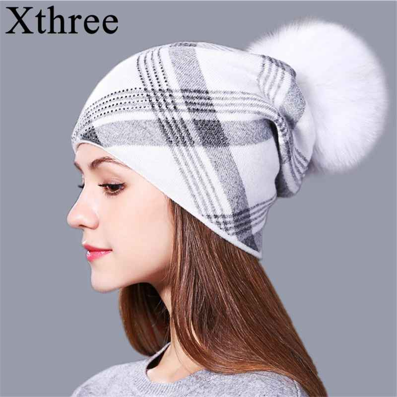 Xthree 2017 New Plaid Knitted Hat For Women Winter Beanie
