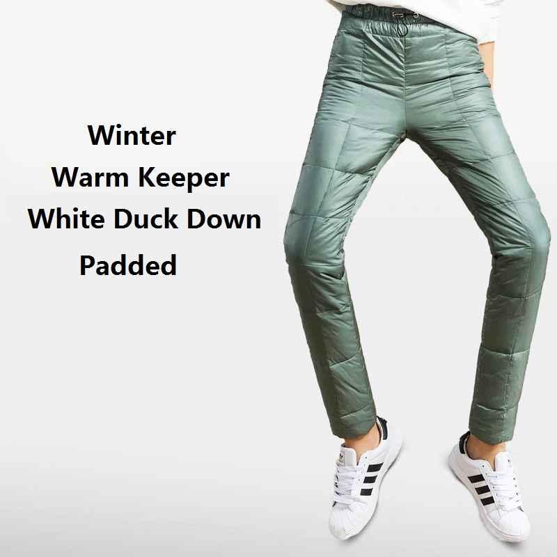 Pants winter women double face down padded pencil pants woman