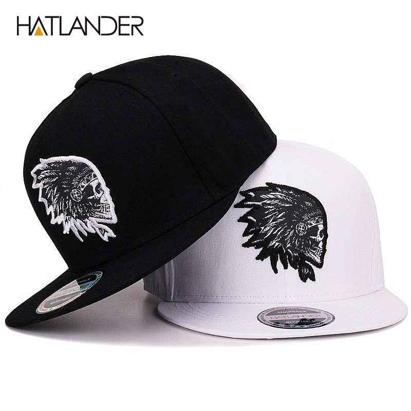 HatlanderEmbroidery Skull Baseball Caps Hats Hip Hop Snapbacks Flat Brim