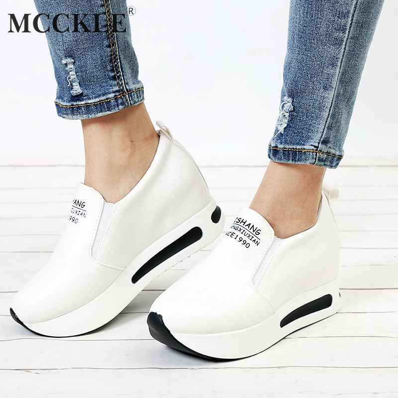 Mcckle Autumn Women Creepers Increasing Height Shoes Womens Casual Slip