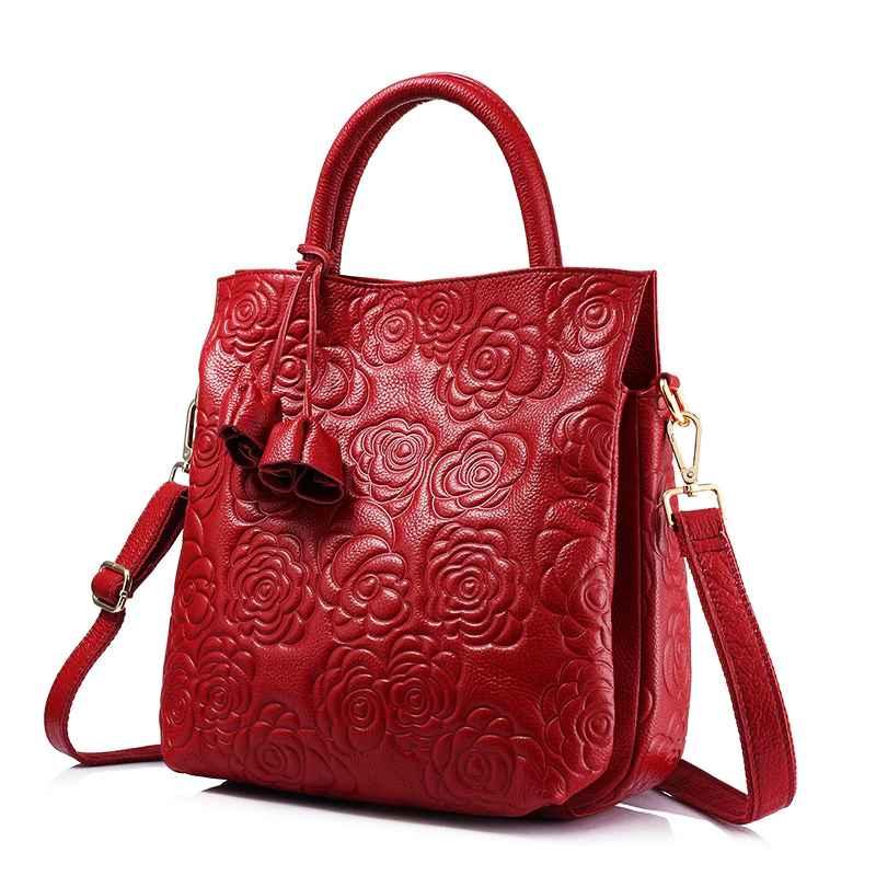 Crossbody Genuine Leather Woman Handbag Leather Black Tote Bag High