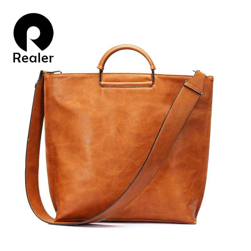 Artificial Leather Women Handbag Large Totes Female Wide Shoulder Strap