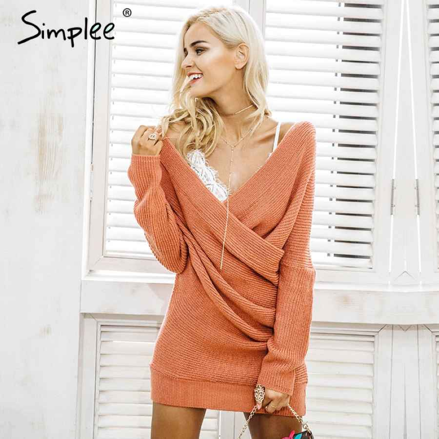 V Neck Cross Knitting Sweater Dress Women Elegant Long Sleeve