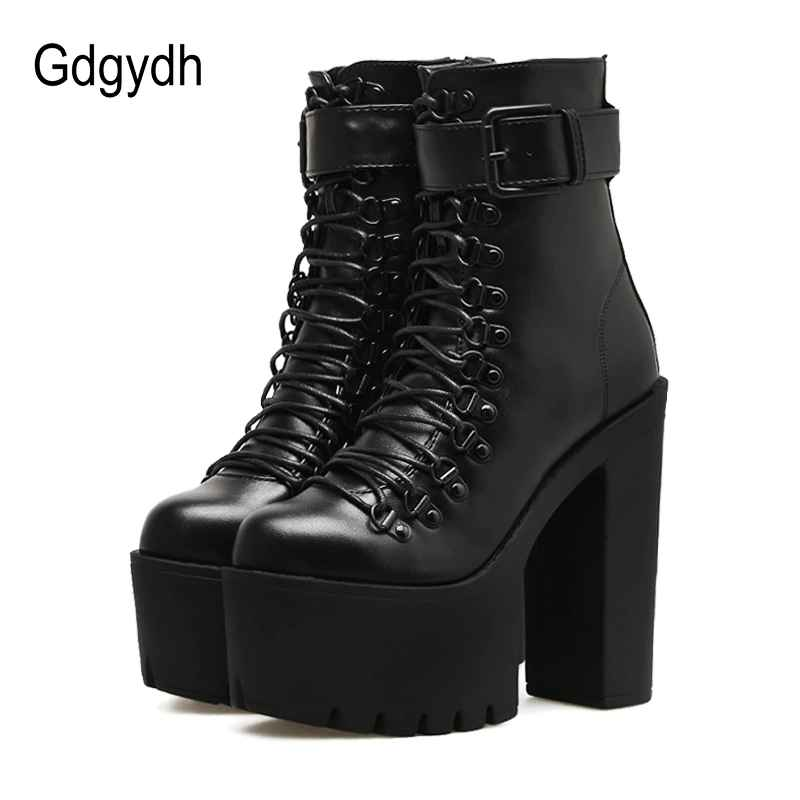 Gdgydh Fashion Motorcycle Boots Women Leather Spring Autumn Metal Buckle