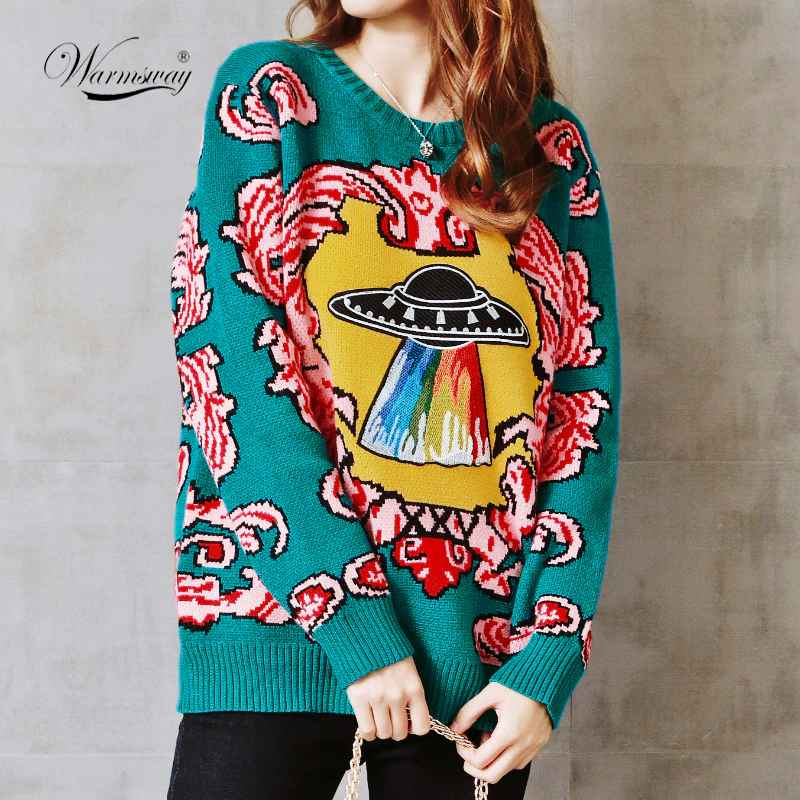 Sweaters women new vintage warm thicken sweaters ufo clouds jacquard
