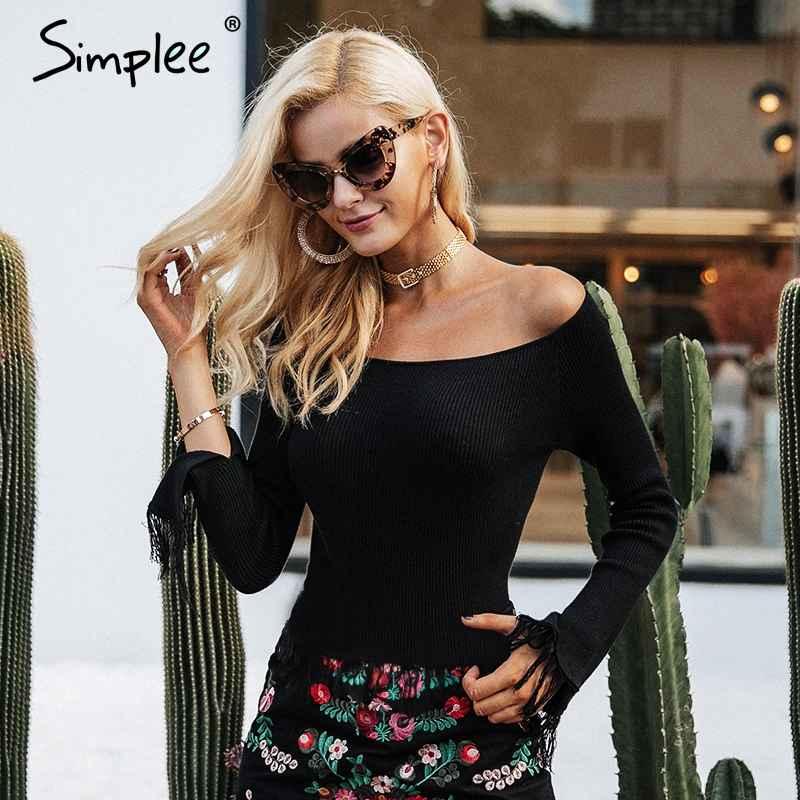 Pullover Jumpers Simplee Tassel Off Shoulder Sweater Women Jumper Long
