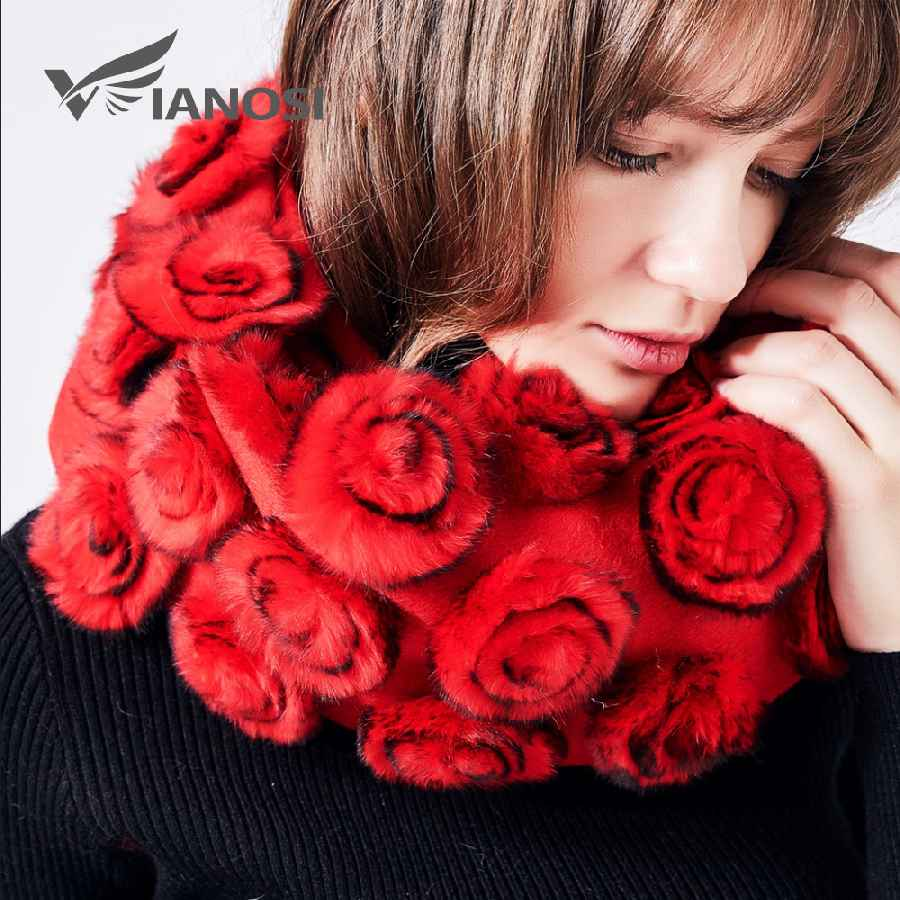 2019 Winter Real Fur Scarf For Women Cape Flowers Rex