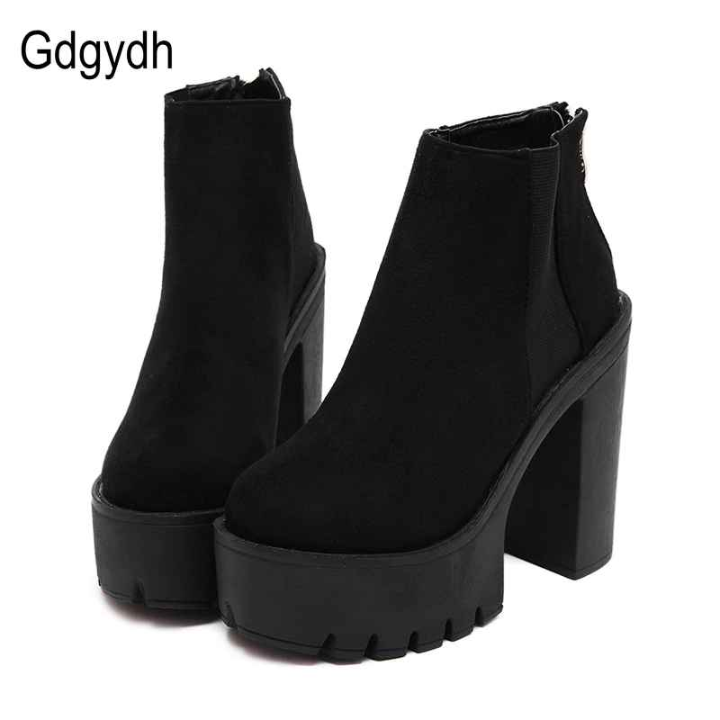 Gdgydh Fashion Black Ankle Boots For Women Thick Heels Spring